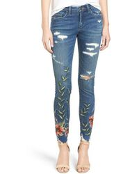 Blank - Embroidered Distressed Skinny Jeans - Lyst
