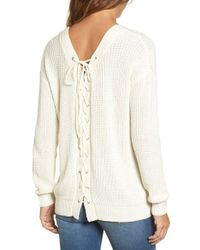 Love By Design - Lace-up Back Sweater - Lyst