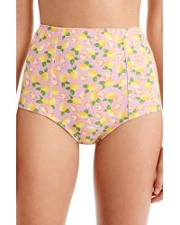 J.Crew - J.crew Lemon Print High Waist Bikini Bottoms - Lyst