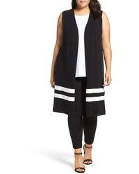 86da870aae79a Vince Camuto - Milano Stripe Open Front Long Sweater Vest - Lyst