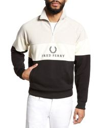 Fred Perry - Embroidered Panel Quarter Zip Pullover - Lyst