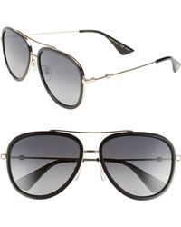 cdcc521acc Gucci Web Block 57mm Leather Aviator Sunglasses in Black for Men - Lyst