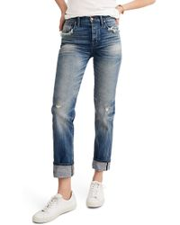 Madewell - Selvedge Distressed Straight Leg Jeans - Lyst