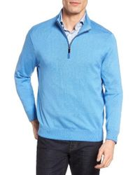 David Donahue - Silk Blend Quarter Zip Sweater - Lyst