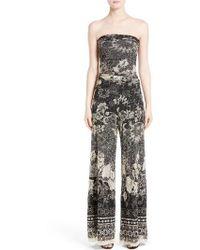 Fuzzi - Strapless Batik Print Jumpsuit - Lyst