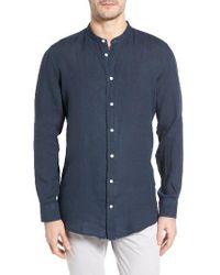 Luciano Barbera - Band Collar Linen Shirt - Lyst