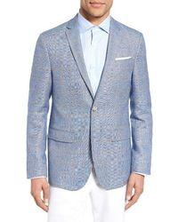 Sand - Trim Fit Windowpane Wool & Linen Sport Coat - Lyst