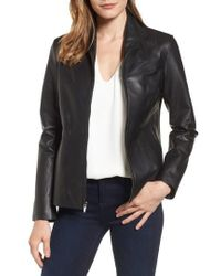 Cole Haan - Lambskin Leather Scuba Jacket - Lyst