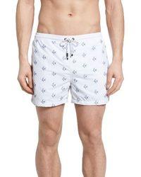 HUGO - Boss White Shark Embroidered Swim Trunks - Lyst