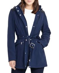 Lauren by Ralph Lauren - Belted Hooded Soft Shell Jacket - Lyst