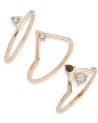 TOPSHOP - Supernova Set Of Three Stacking Rings - Lyst