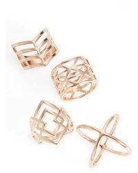 TOPSHOP - 4-pack Geometric Rings - Lyst