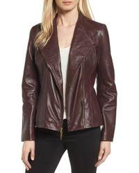 Ellen Tracy - Asymmetrical Zip Leather Jacket - Lyst