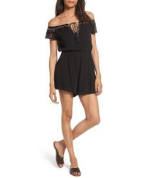 Lush - Embroidered Off The Shoulder Romper - Lyst