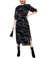 TOPSHOP Horse Print Midi Dress