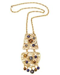 Ben-Amun - Multicolor Golden Lace Long Pendant Necklace - Lyst