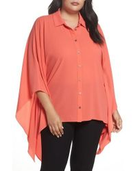 Vince Camuto - Button Down Collared Poncho Top - Lyst