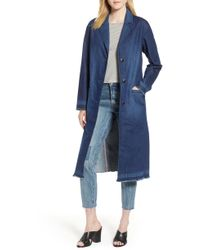 Levi's - Denim Washed Long Peacoat - Lyst