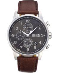 BOSS - Navigator Chronograph Leather Strap Watch - Lyst