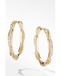 David Yurman - Tides Hoop Earrings In 18k Yellow Gold With Diamonds - Lyst