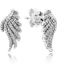 PANDORA - 'majestic Feathers' Stud Earrings - Lyst