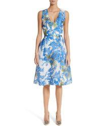 Carolina Herrera - Floral Fit & Flare Dress - Lyst