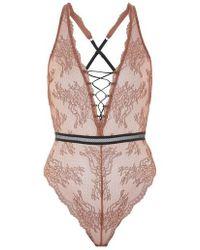 TOPSHOP - Lila Lace-up Bodysuit - Lyst