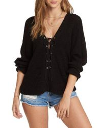 Billabong - Lace-up Sweater - Lyst