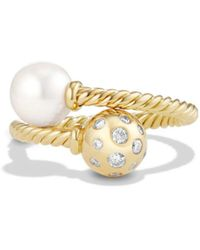 David Yurman - 'solari' Ring With Pearls And Diamonds In 18k Gold - Lyst