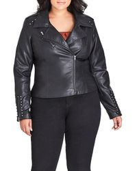 City Chic - Simply Stud Faux Leather Jacket - Lyst