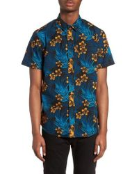 The Rail - Short Sleeve Print Poplin Shirt - Lyst