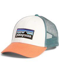 46d56a4f7db75 Patagonia P-6 Logo Trucker Hat in Blue - Lyst