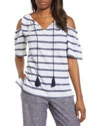 Chaus - Stripe Cold Shoulder Cotton Gauze Top - Lyst