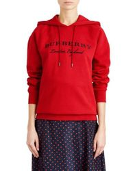 Burberry - Krayford Embroidered Cotton Blend Hoodie - Lyst