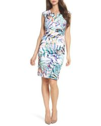 Adrianna Papell | Watercolor Leaves Sheath Dress | Lyst