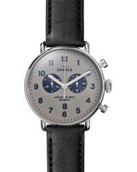 Shinola - The Canfield Chrono Leather Strap Watch - Lyst