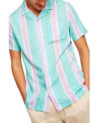 TOPMAN - Classic Fit Revere Stripe Shirt - Lyst