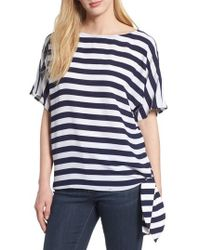Kors by Michael Kors - Michael Michael Kors Side Tie Striped Top - Lyst