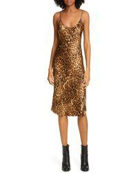 74f15385e055 Nicholas Ruched Leopard Print Silk Dress in Brown - Lyst