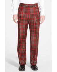 Berle - Pleated Plaid Wool Trousers - Lyst