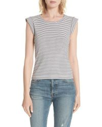 La Vie Rebecca Taylor - Stripe Sleeveless Cotton Top - Lyst