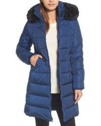 Vince Camuto | Down & Feather Fill Coat With Faux Fur Trim Hood | Lyst