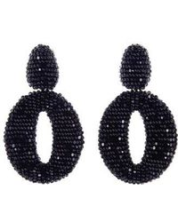 Oscar de la Renta - Beaded Frontal Hoop Clip Earrings - Lyst