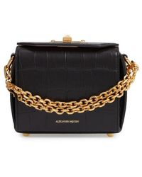 Alexander McQueen - Mini Box Croc-embossed Leather Bag - Lyst