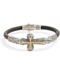 Konstantino - Stavros Cross Leather Bracelet - Lyst