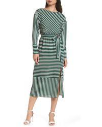 Charles Henry - Striped Midi Dress - Lyst