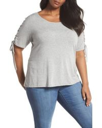 Sejour - Lace-up Sleeve Tee - Lyst