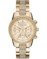Michael Kors - Ritz Pave Chronograph Bracelet Watch - Lyst