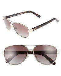 Kate Spade - 'dalia' 58mm Polarized Aviator Sunglasses - Lyst