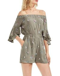 Vince Camuto - Off The Shoulder Ruffle Sleeve Floral Romper - Lyst
